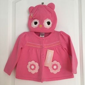 GYMBOREE Pink Sweater and Owl Hat Set (6-12 Mos)